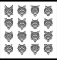 dog wolf coyote heads silhouette set vector image vector image
