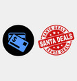dollar bank cards icon and distress santa vector image vector image