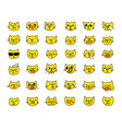 emoji sticker set cat head yellow color different vector image