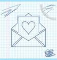 envelope with valentine heart line sketch icon vector image vector image