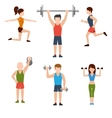 Exercises with weights and warm-up icons vector image vector image