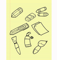 Freehand drawing drawing tools set vector image