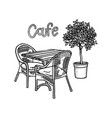 hand drawn street cafe furniture - table two vector image