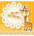 Happy Birthday yellow openwork card vector image vector image