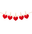 hearts clothespins vector image vector image
