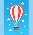hot air balloon with rabbit in basket vector image vector image