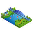 isometric railway bridge concept vector image