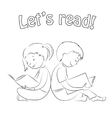 Kids reading books - outline Coloring page vector image vector image