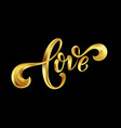 love gold lettering text on background hand vector image vector image