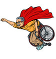 man retired superhero disabled in a wheelchair vector image vector image