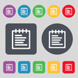Notepad icon sign A set of 12 colored buttons Flat vector image