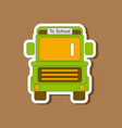 paper sticker on stylish background school bus vector image vector image