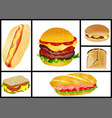 sandwiches and hamburgers set vector image
