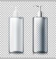 set - 3d realistic transparent pump bottles vector image