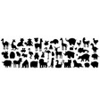 set animals silhouette vector image vector image