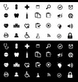 set medical icon on black and white background vector image