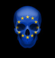 skull with eu flag vector image vector image