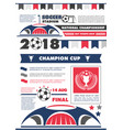 soccer or football sport championship poster vector image vector image