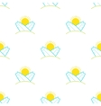 Surfboards and sun seamless pattern in