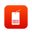 tag with bar code icon digital red vector image vector image