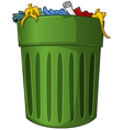 Trash Can with Trash Inside vector image