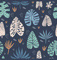 tropical hand drawn seamless pattern vector image vector image