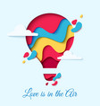 valentines day card with paper cut hot air balloon vector image