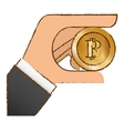 bitcoin icon money symbol in the hand vector image