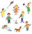 Kids playing cute cartoons vector image