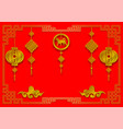 paper art style of happy chinese new year red and vector image