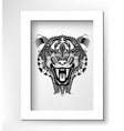 black drawing head tiger drawing with the opened vector image
