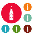 bottle of beer icons circle set vector image vector image