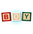 boy word blocks vector image vector image
