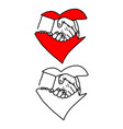 business handshake in heart signp vector image vector image
