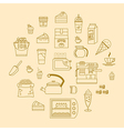 cafe equipment outline icons design collection 3 vector image vector image