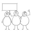 cartoon group three angry overweight or fat vector image vector image