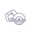 circular saw line icon on white vector image