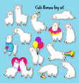 collection of cute llamas set of stickers vector image