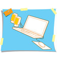 Computer Laptop With Mouse And Loudspeaker vector image vector image