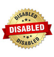 Disabled 3d gold badge with red ribbon