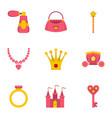 doll princess icon set flat style vector image vector image