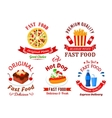 Fast food cafe and pizzeria cartoon icons vector image vector image