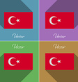 Flags Turkey Set of colors flat design and long vector image