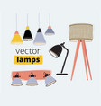 floor and table lamp light electric interior vector image