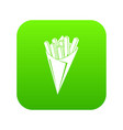 french fries icon green vector image