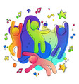 fun colorful friends in music party concept vector image vector image