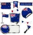 Glossy icons with New Zealander flag vector image vector image