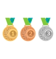 Gold medal icon Silver medal icon Bronze medal vector image vector image