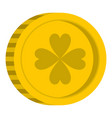 golden coin with clover sign icon isolated vector image vector image