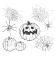 halloween collection of drawings vector image
